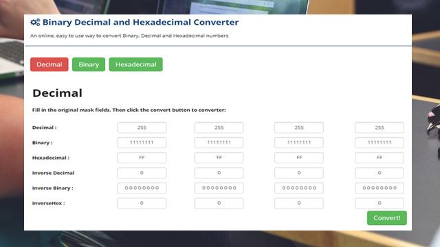 Binary, Decimal and Hexadecimal Converter