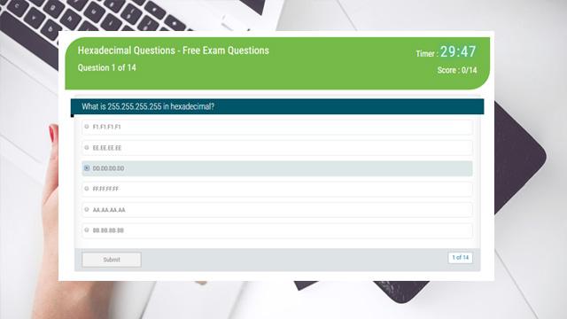 Hexadecimal Questions - Free Exam Questions